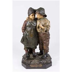 Austrian Terracotta Grouping, Boy & Girl