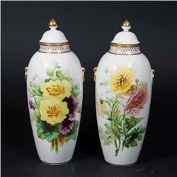 Pair English Covered Porcelain Urns
