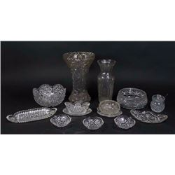 Group Lot of Cut Glass Pieces