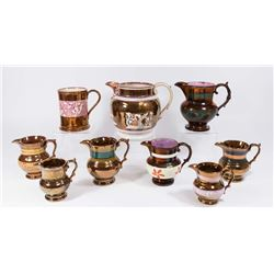 8 Gold Lustreware Pitchers & 1 Mug