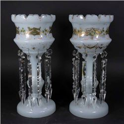Pair Victorian Bristol Glass Hurricane Urns