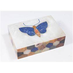 Pietra Dura Mosaic Butterfly Covered Box