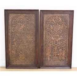 Pair Indian Hammered Copper Wall Plaques