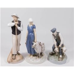 Group Lot of 3 Danish Porcelain Figurines