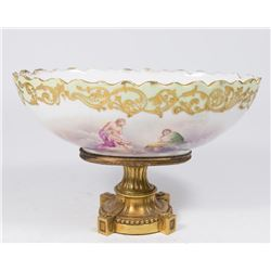 Sevres Style Porcelain & Bronze Compote