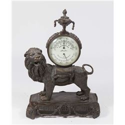 "Figural Lion with ""Airguide"" Themometer"