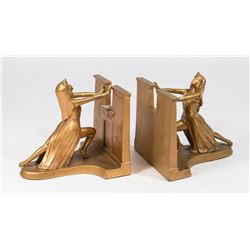 Pair L.V. Aronson Metal Figural Art Deco Bookends