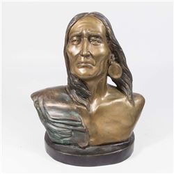 Bronze Bust of Native American Indian