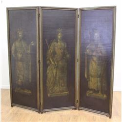 3-Panel Screen Depicting British Royalty