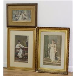3 European Colored Prints