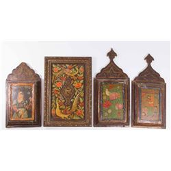 4 Persian Judaica Handpainted Wall Plaques
