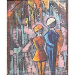 W. Saval, Abstract Cityscape with Young Couple