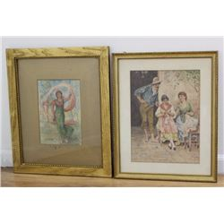 Two Gilt Framed Watercolors