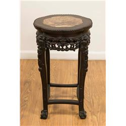 Chinese Teakwood Marble Top Stand