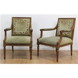 Pair Louis XVI Style Open Arm Chairs