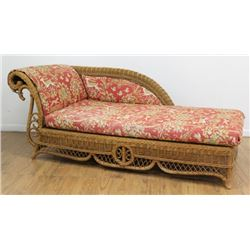 Ralph Lauren Wicker Chaise Longue with Cushions