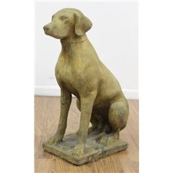 Cement Sculpture of Seated Hound
