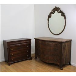 Empire Style Chest & Walnut Serpentine Dresser
