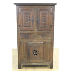 Antique French Oak or Belgian 4-Drawer Chest