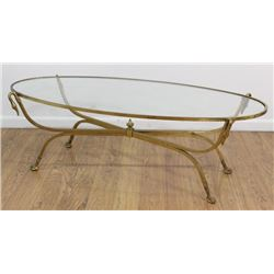 Brass Oval Glass Top Coffee Table