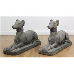 Pair Cement Seated Whippets