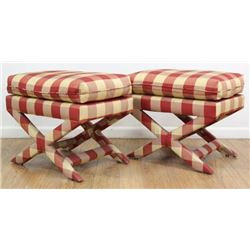 "Pair Upholstered ""X"" Benches"