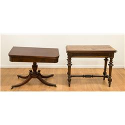 Mahogany Card Table & Banded Card Table