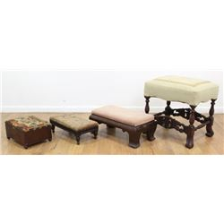 4 Needlepoint Footstools