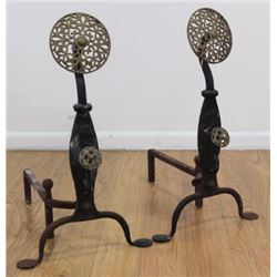 Pair Brass & Iron Andirons