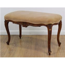 Louis XV Provincial Style Carved Walnut Bench