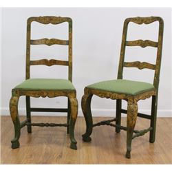 Pair Antique Paint-Decorated Ladder Back Chairs