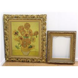 2 Antique Gold Leaf Wood & Gesso Frames