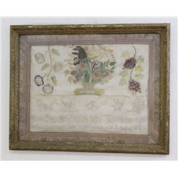 Framed Antique Needlework Picture