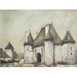 Oil on Canvas, French Medieval Manor, 20thc