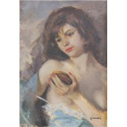 Bianchi, Seminude with Mirror, Oil on Canvas