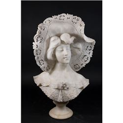 Carved Alabaster Bust of Victorian Lady