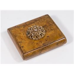 Treen Antique Box with Gold & Diamond Afixed Top