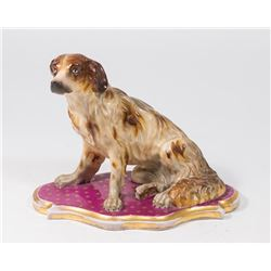 Handpainted Porcelain Seated Dog