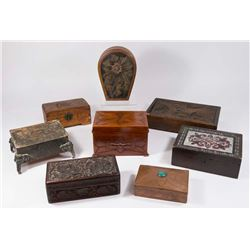 Lot of 8 Carved Wood & Copper Jewelry Boxes