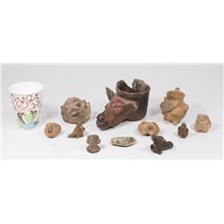 Lot of Pre-Columbian Pottery & Stone Carving
