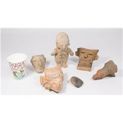 Lot of Pre-Columbian Pottery & 1 Stone Carving