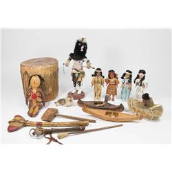 14 Indian Dolls, Drum, Tomahawks, and more