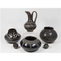 6 Mexican & Indian Black Pottery Vessels