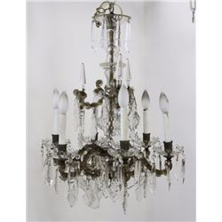 6-Light Bronze & Crystal Chandelier