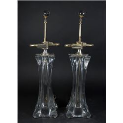Pair Mid-Century Modern Chrome & Glass Lamps