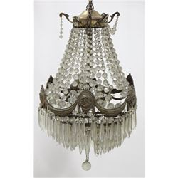 Louis XV Style Brass & Faceted Glass Hall Fixture