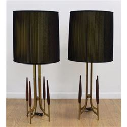 Pair Brass & Wood Mid-Century Modern Lamps