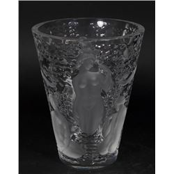 Lalique Clear & Frosted Glass Vase