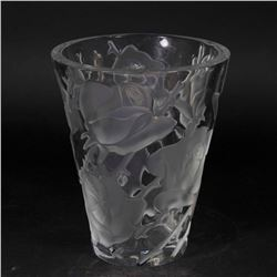 Lalique Clear & Frosted Glass Roses Vase