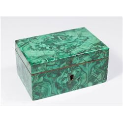 Russian Malachite Box with Wood Interior